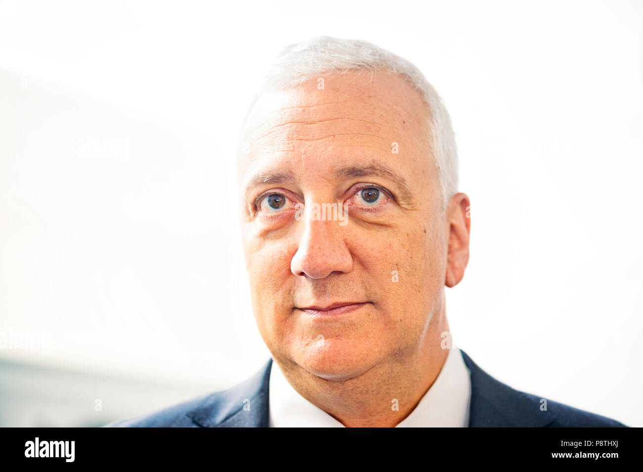 Garden City, New York, USA. June 21, 2018. Closeup of MIKE MASSIMINO, former NASA space shuttle astronaut, who is inducted into Long Island Air & Space Hall of Fame Class of 2018 at Cradle of Aviation Museum. - Stock Image