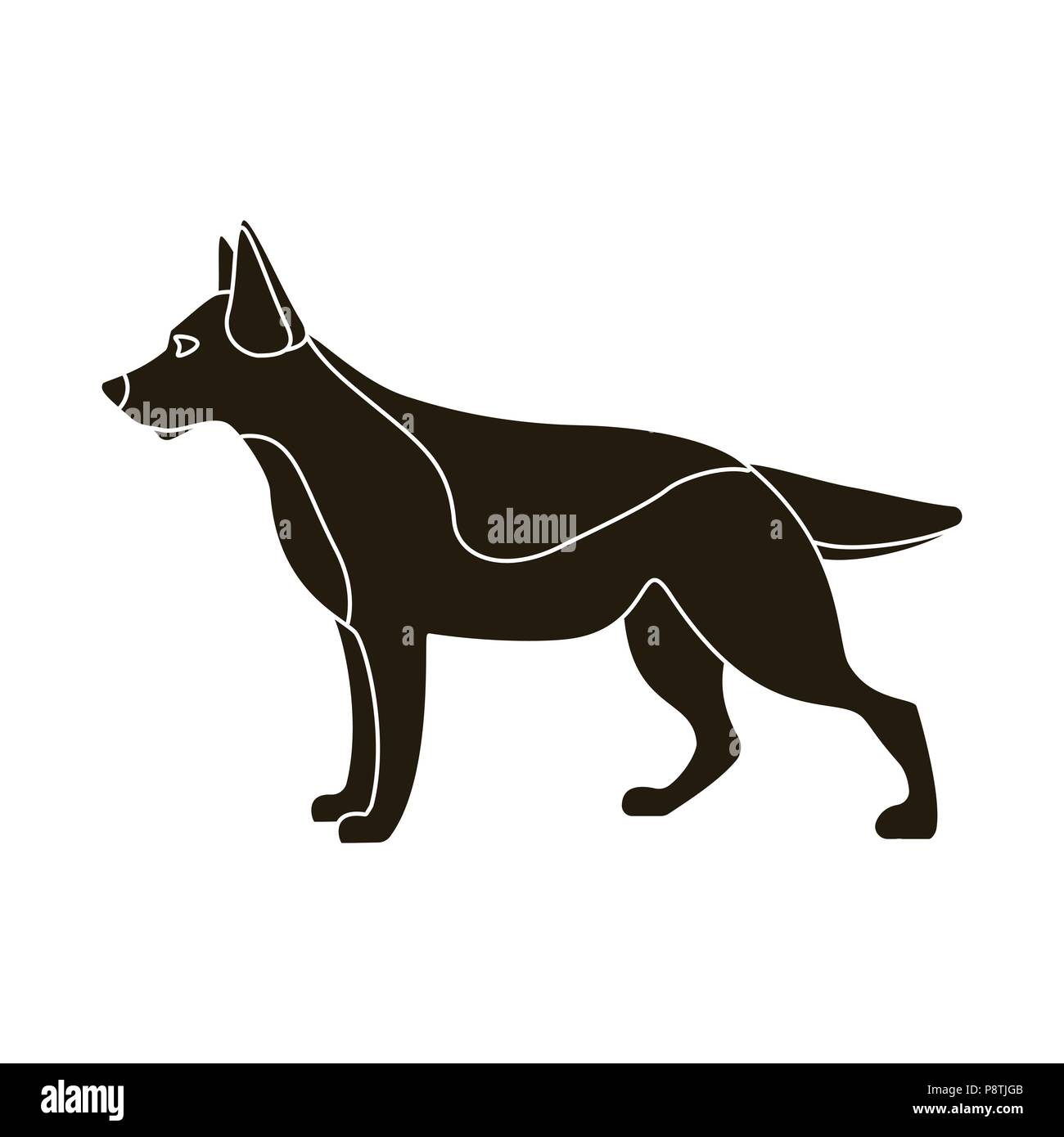 German shepherd vector illustration icon in black design - Stock Vector