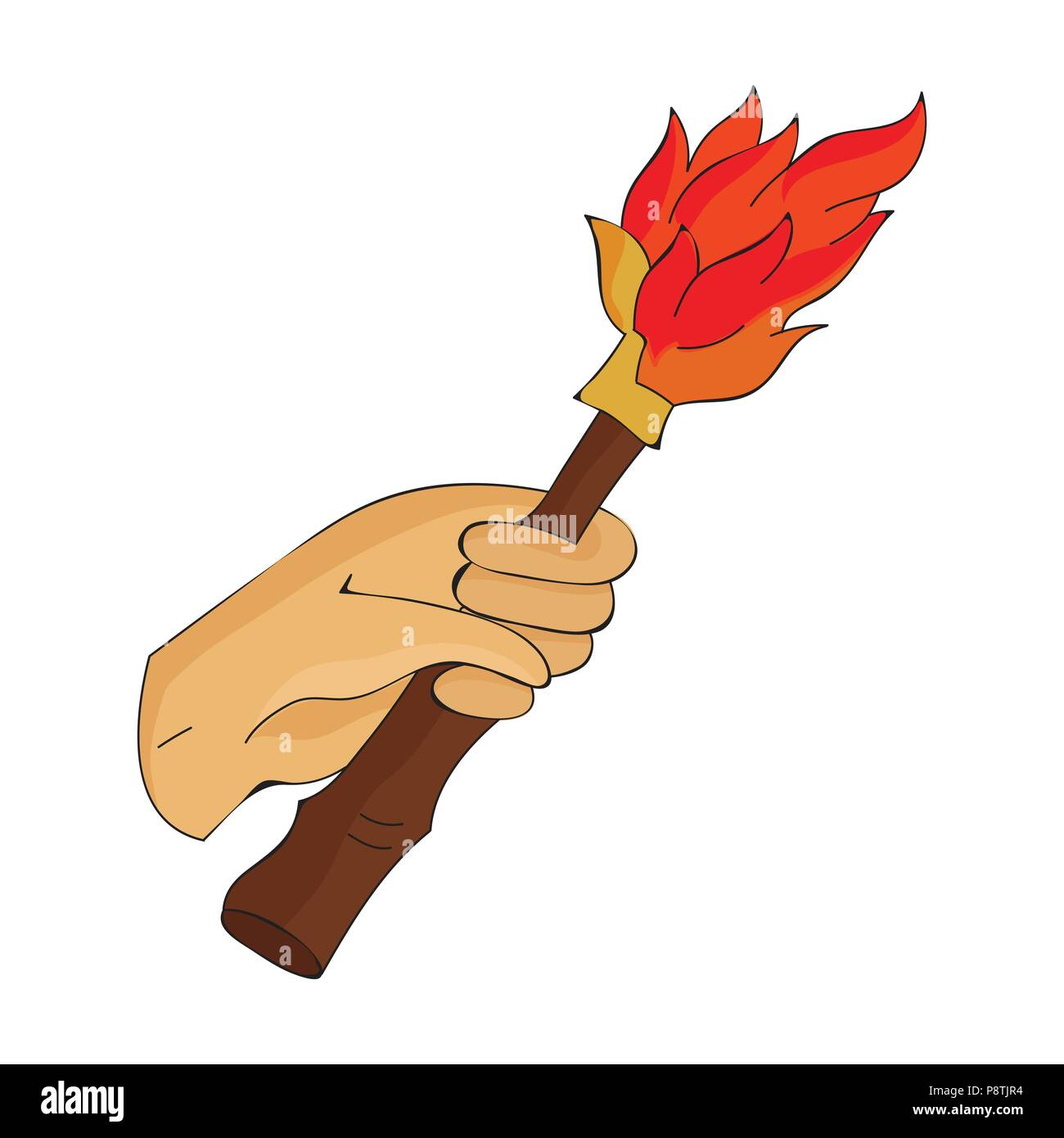 Burning Torch In The Hand Icon In Cartoon Style Isolated On White