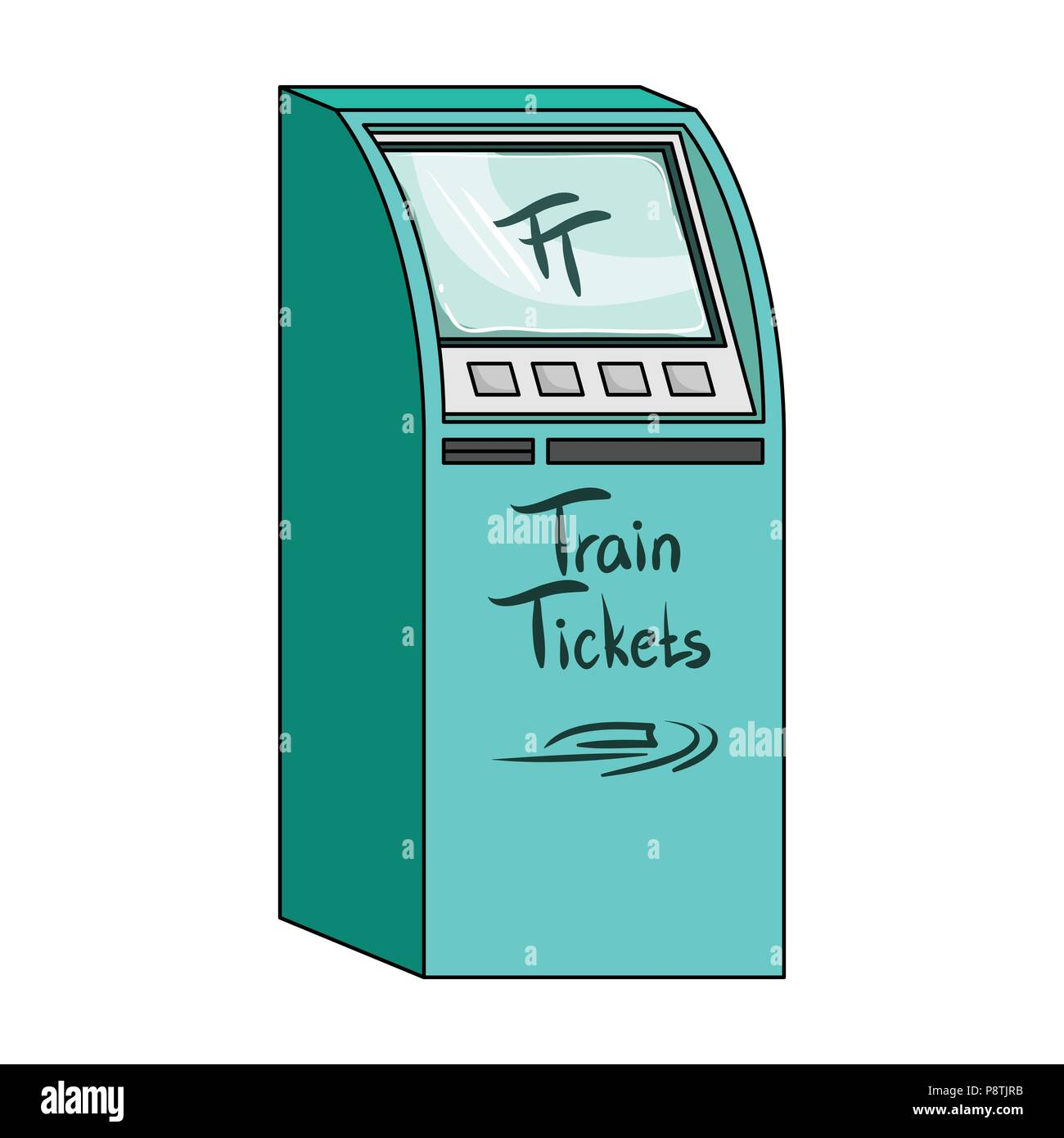 Terminal for train tickets. Terminals single icon in cartoon style isometric vector symbol stock illustration . - Stock Image