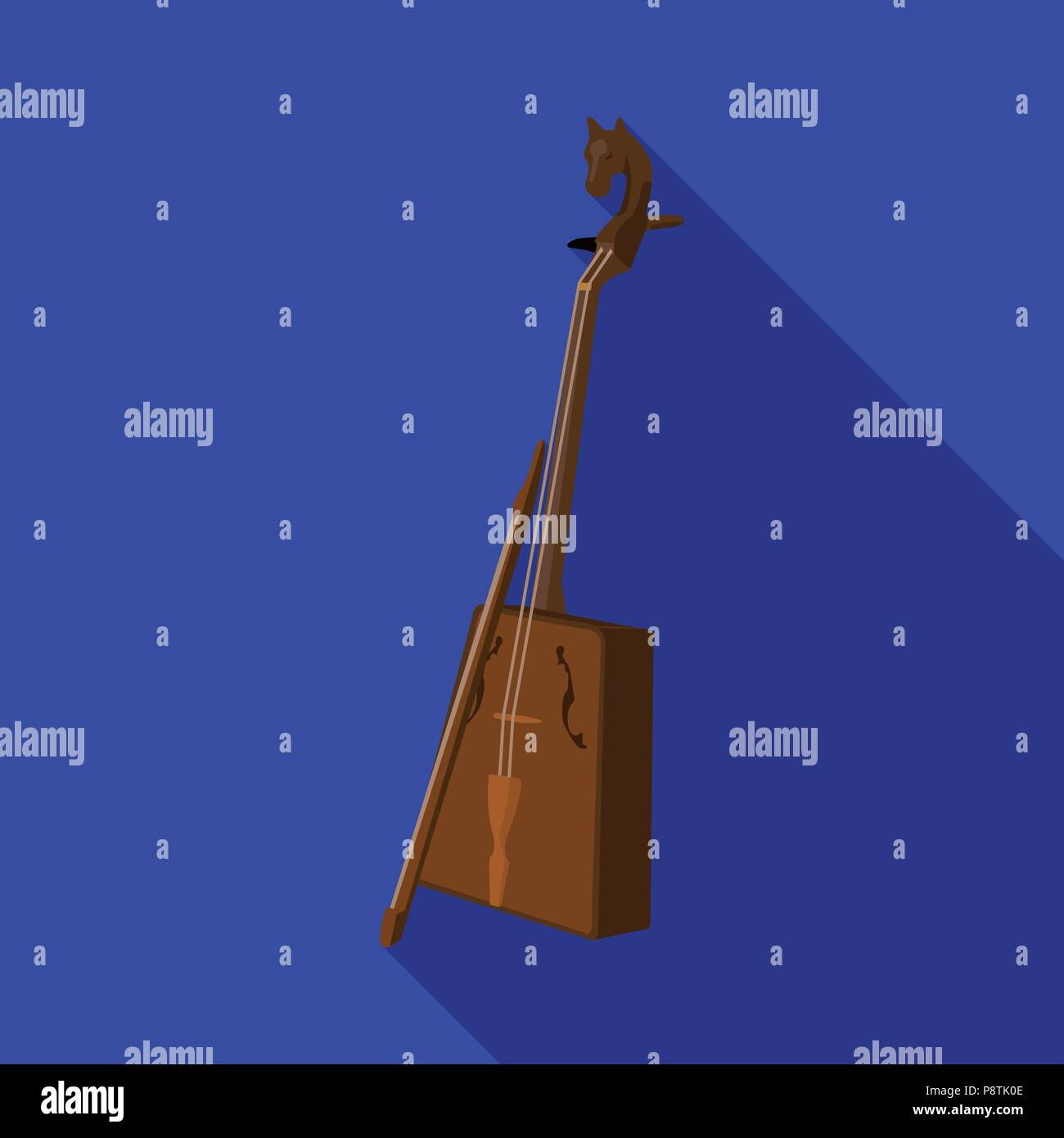 Wooden musical instruments of Mongol .National music of the Mongolian.Mongolia single icon in flat style vector symbol stock web illustration. - Stock Vector