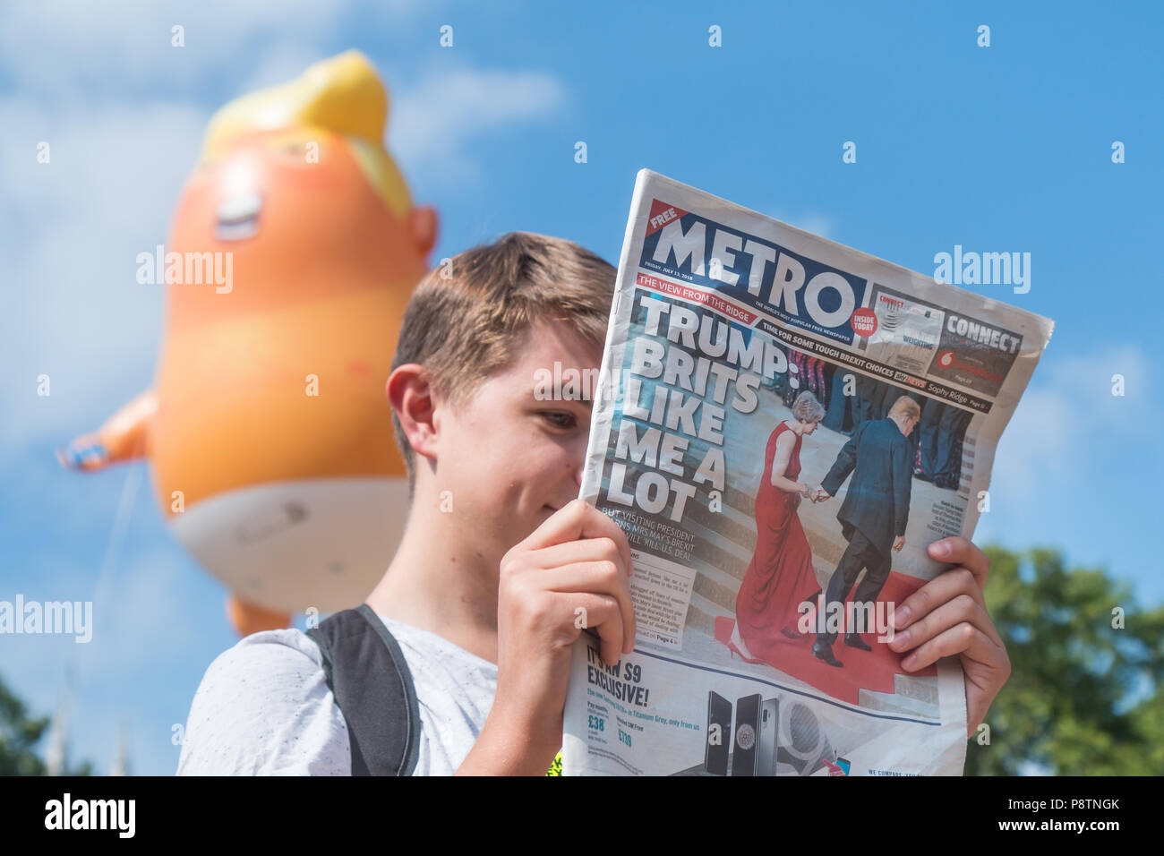 London, UK. 13th July, 2018. Baby Trump blimp floats about Parliament Square Credit: Zefrog/Alamy Live News - Stock Image