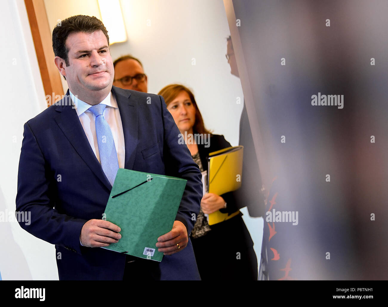 Berlin, Germany. 13th July, 2018. Minister for Work and Social Affairs from the Social Democratic Party (SPD), Hubertus Heil, coming to a press conference for the outline of the new pension concept. Credit: Britta Pedersen/dpa-zentralbid/dpa/Alamy Live News Stock Photo