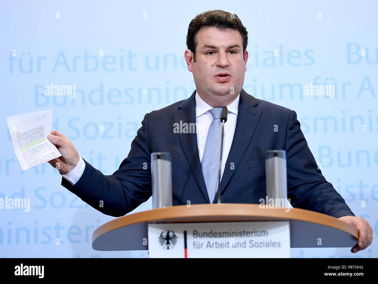 Berlin, Germany. 13th July, 2018. Minister for Work and Social Affairs from the Social Democratic Party (SPD), Hubertus Heil, giving a press conference for the outline of the new pension concept. Credit: Britta Pedersen/dpa-zentralbid/dpa/Alamy Live News - Stock Image