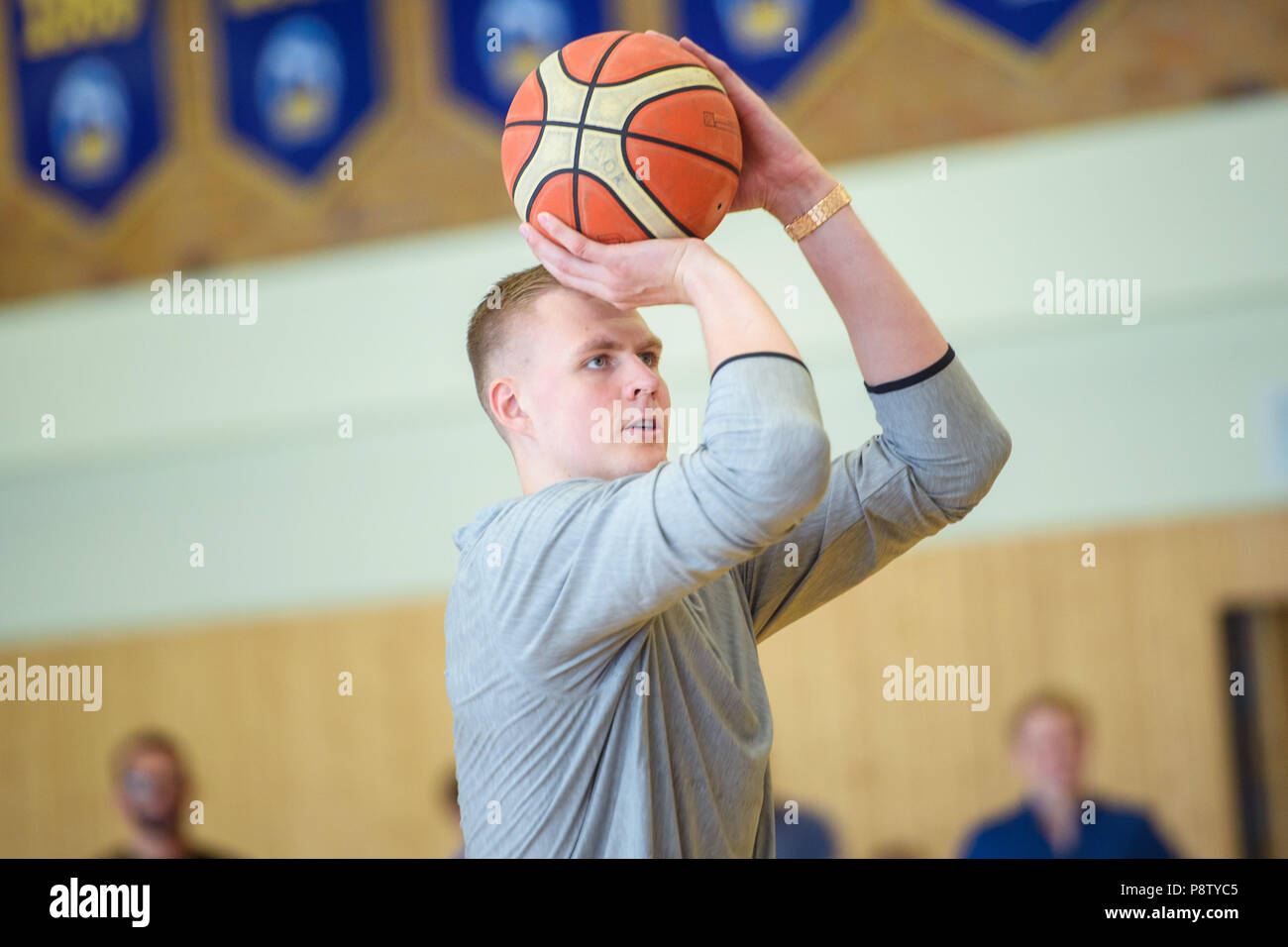 Germany, Berlin  13th July, 2018  Kristaps Porzingis (R