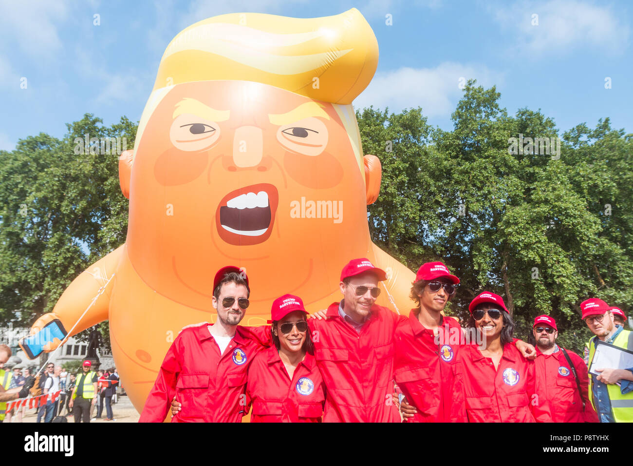 London, UK. 13th July, 2018. Baby Trump blimp floats about Parliament Square Credit: Zefrog/Alamy Live News Stock Photo