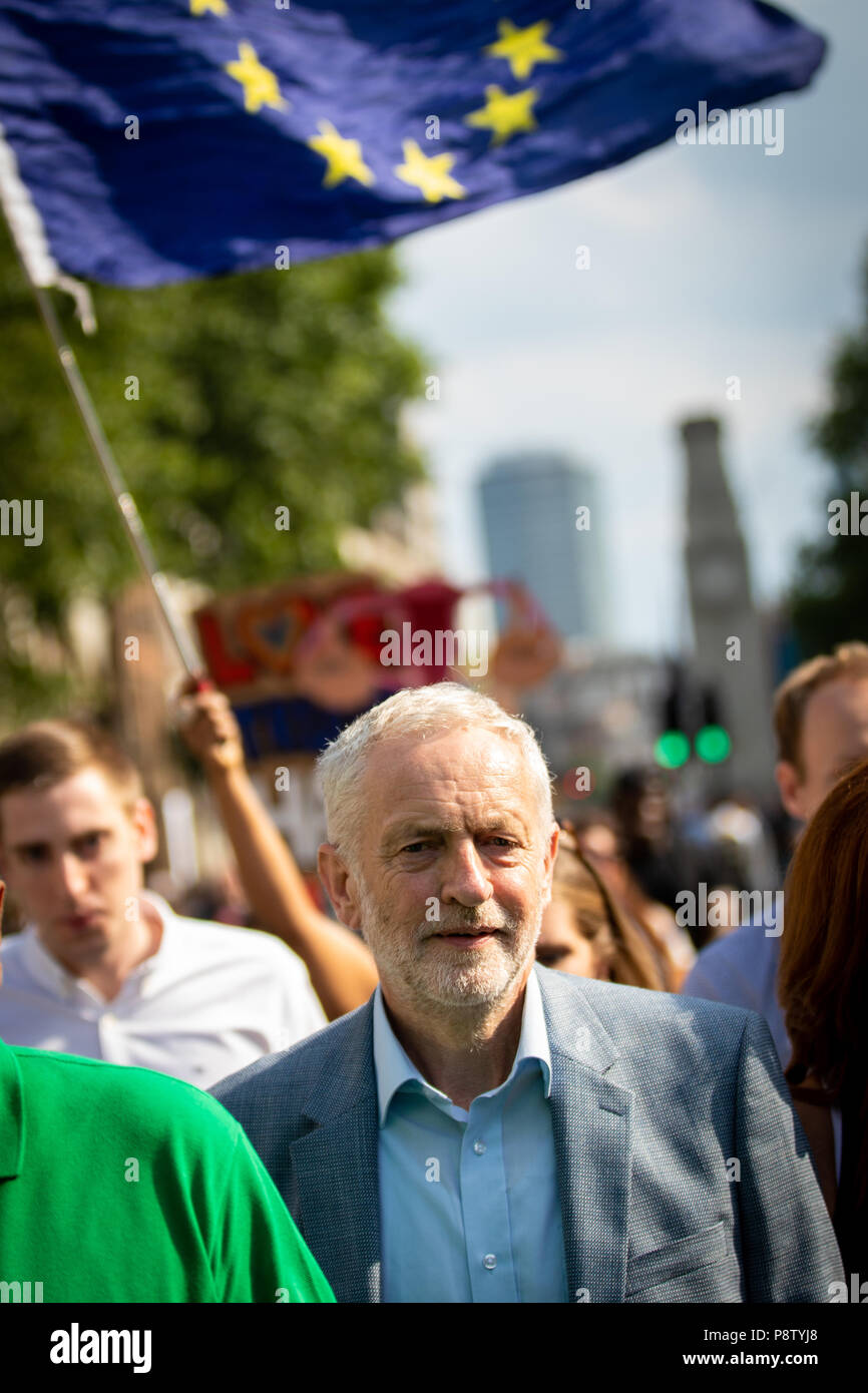 London, UK 13th July, 2018. Jeremy Corbyn walks to Trafalgar Square down Whitehall. Andy Barton/Alamy Live News Stock Photo