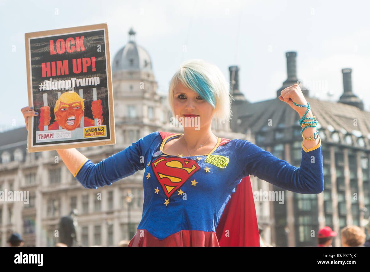 London, UK. 13th July, 2018. 'EU Supergirl' Madeleina Kay in Parliament Square Credit: Zefrog/Alamy Live News - Stock Image