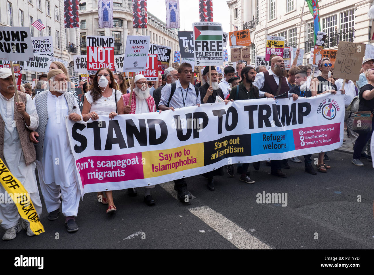 London, United Kingdon. 13th July 2018. 100,000 protest in central London against the visit by US President Donald Trump. Credit: Mike Abrahams/Alamy Live News - Stock Image