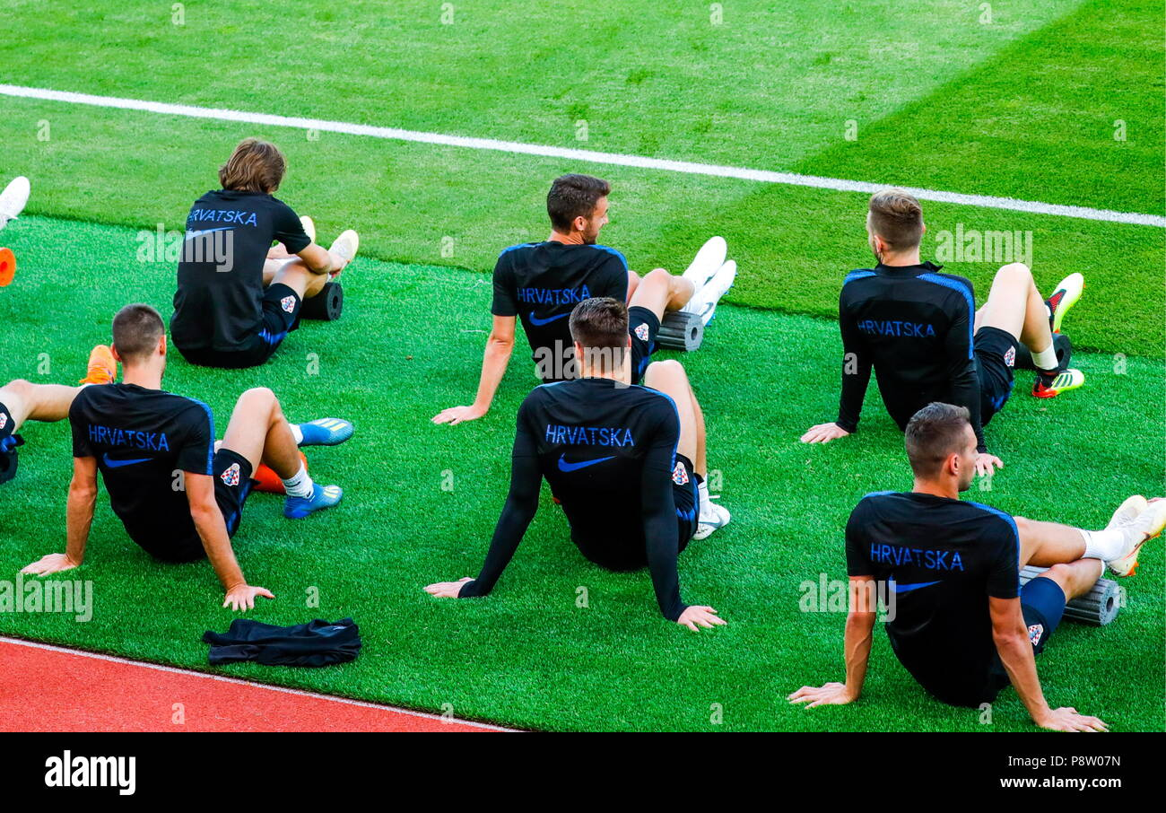 Moscow, Russia. 13th July, 2018. MOSCOW, RUSSIA - JULY 13, 2018: Members of the Croatian men's national football team during a training session ahead of the 2018 FIFA World Cup final match against France, at Luzhniki Stadium. Mikhail Japaridze/TASS Credit: ITAR-TASS News Agency/Alamy Live News - Stock Image