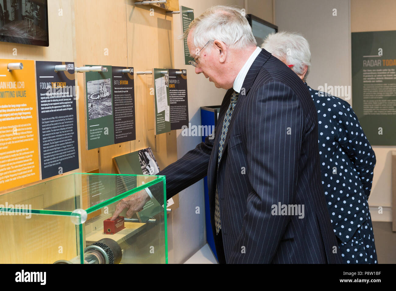 Bawdsey, UK. 13th July 2018. Just testing...HRH The Duke of Gloucester presses the two buttons which would woud have been used be used to destroy the specialist radar technology, as he opened Bawdsey Radar Transmitter Block. Credit: Keith mindham/Alamy Live News - Stock Image