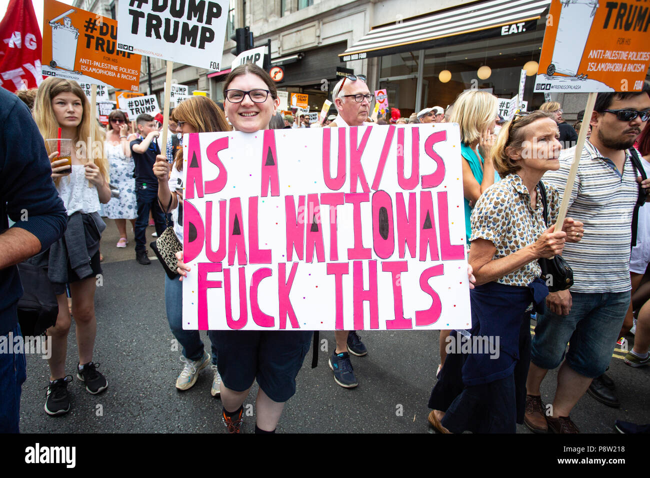 London/United Kingdom - July 13, 2018: Protests against Donald Trump continue with a march in central London ending up in Trafalgar Square for a rally. Many Americans were present. Credit: Martin Leitch/Alamy Live News Stock Photo