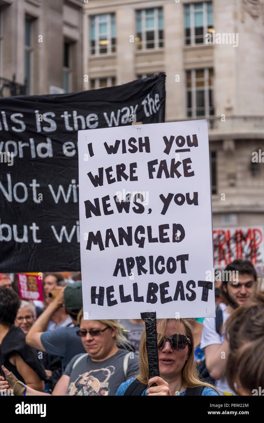 London, UK. 13th July 2018.Anti-Trump demonstration, London, UK 13.07.2018 Credit: Bjanka Kadic/Alamy Live News - Stock Image