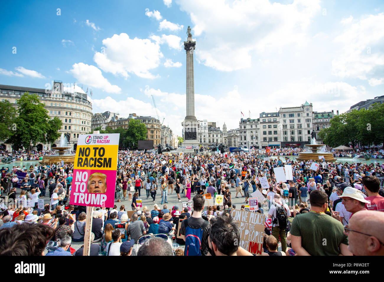 London/United Kingdom - July 13, 2018: Protests against Donald Trump continue with a march in central London ending up in Trafalgar Square for a rally. The crowds grew and grew. Credit: Martin Leitch/Alamy Live News - Stock Image