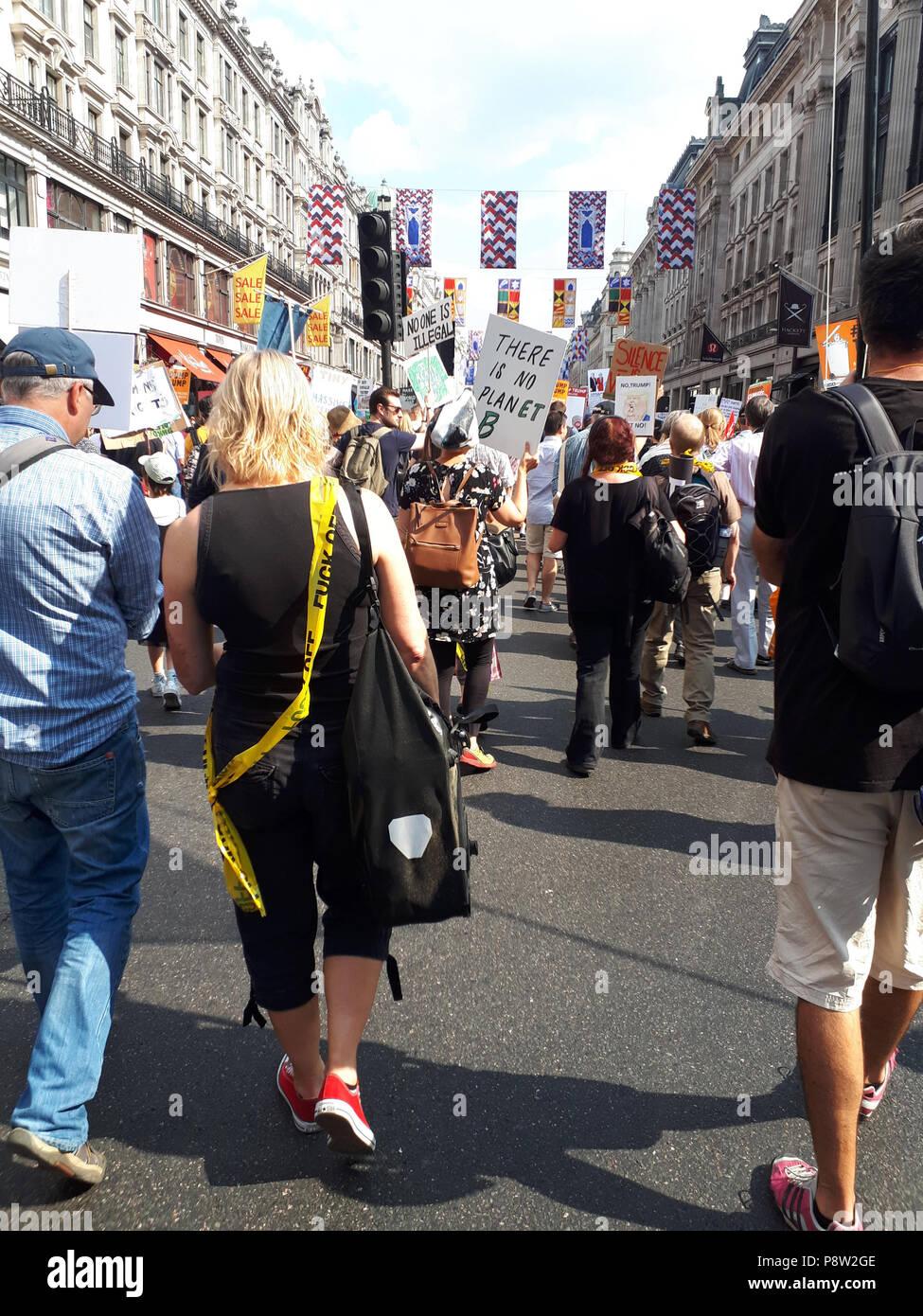 London, UK. 13th July 2018. 13/7/2018 Trump Demo Portland Place, Piccadily Circus to Trafalgar Sq  London - credit Glamourstock Credit: glamourstock/Alamy Live News Stock Photo