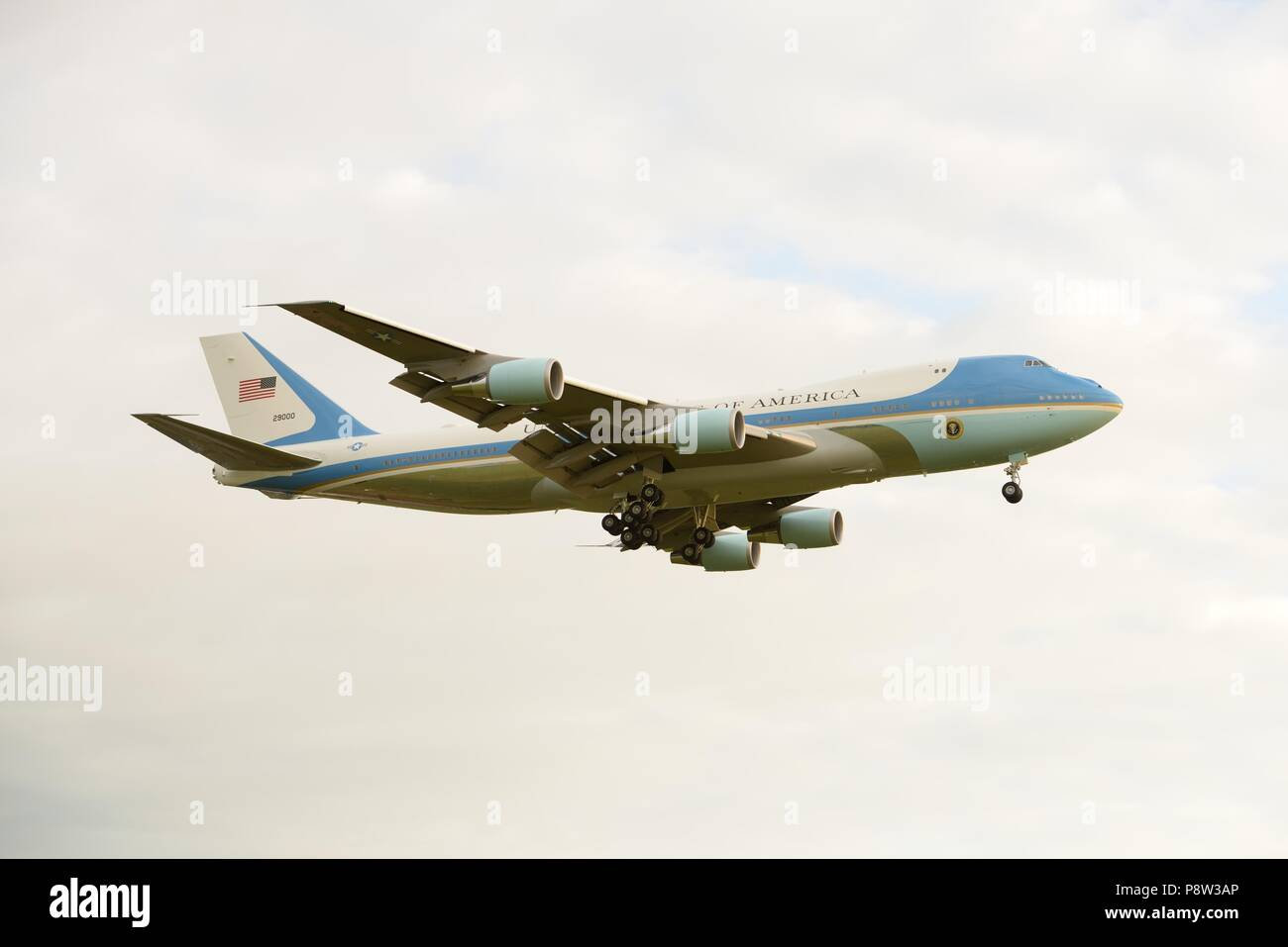 Glasgow, UK, 13th, July, 2018. Glasgow Prestwick Airport, Scotland, UK. United States of America's President Trump arrives in Scotland on Airforce one during a trip to the United Kingdom Stock Photo