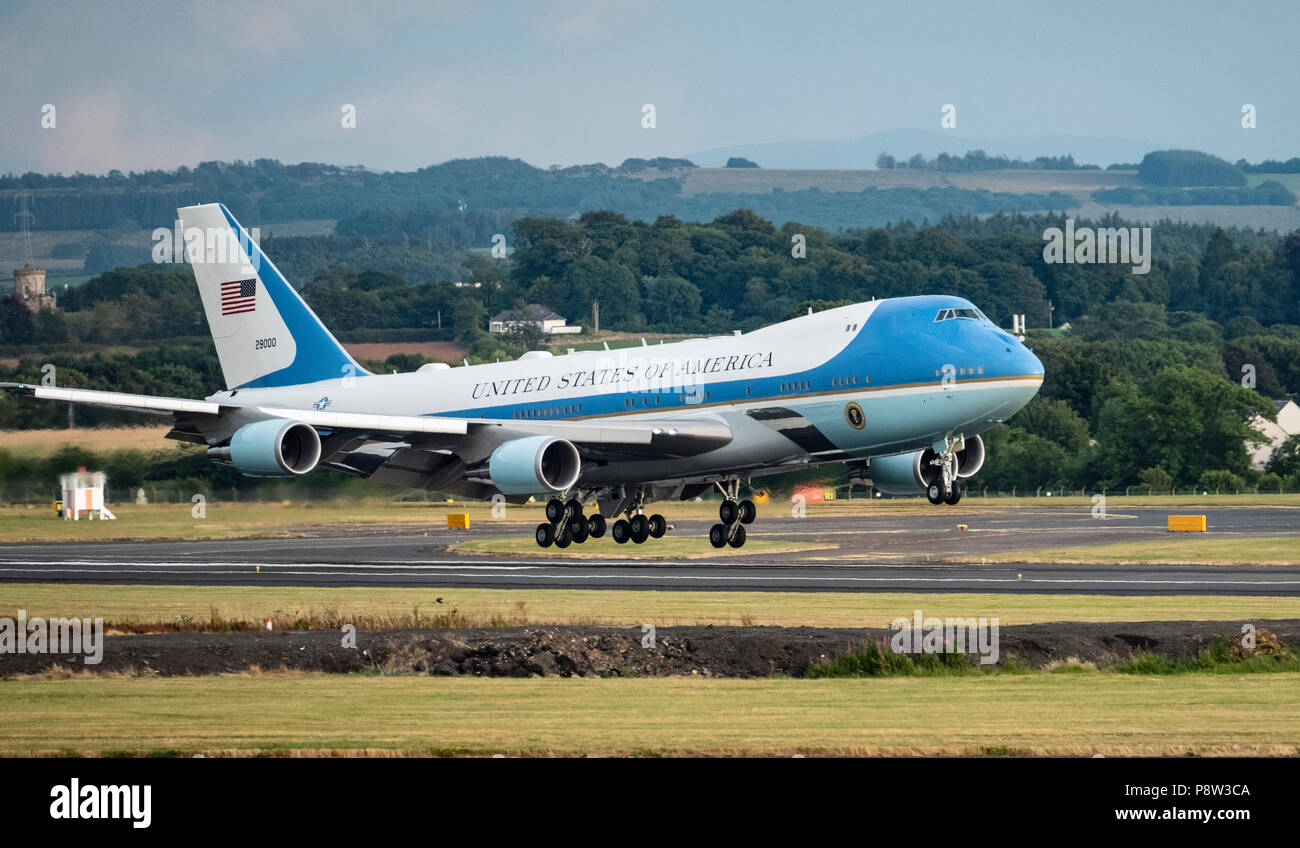 Prestwick Airport, Scotland, UK. 13 July, 2018. President Donald Trump arrives on Air Force One at Prestwick Airport in Ayrshire ahead of a weekend at his golf resort at Trump Turnberry where he is expected to play golf. Credit: Iain Masterton/Alamy Live News - Stock Image
