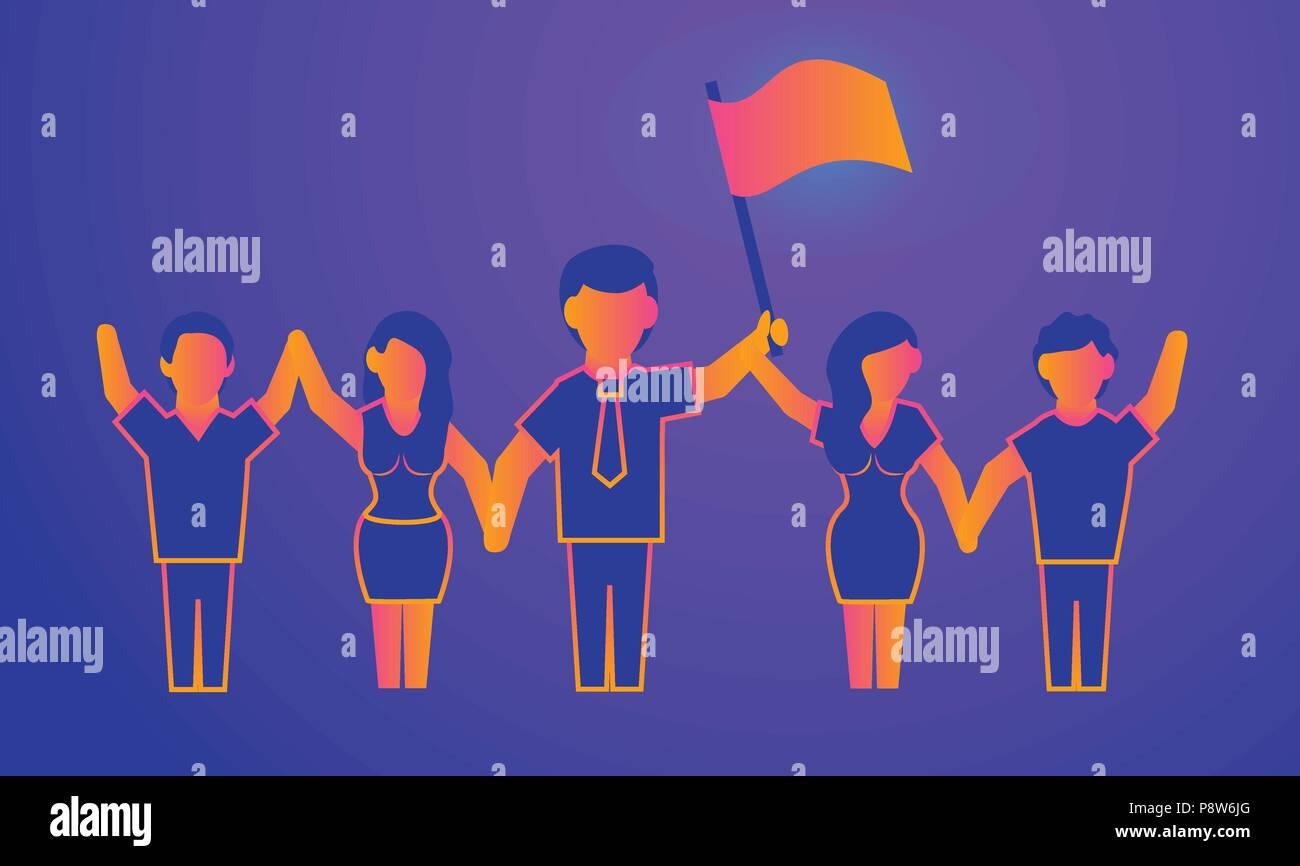 Leadership Gradient illustration on violet - Stock Image