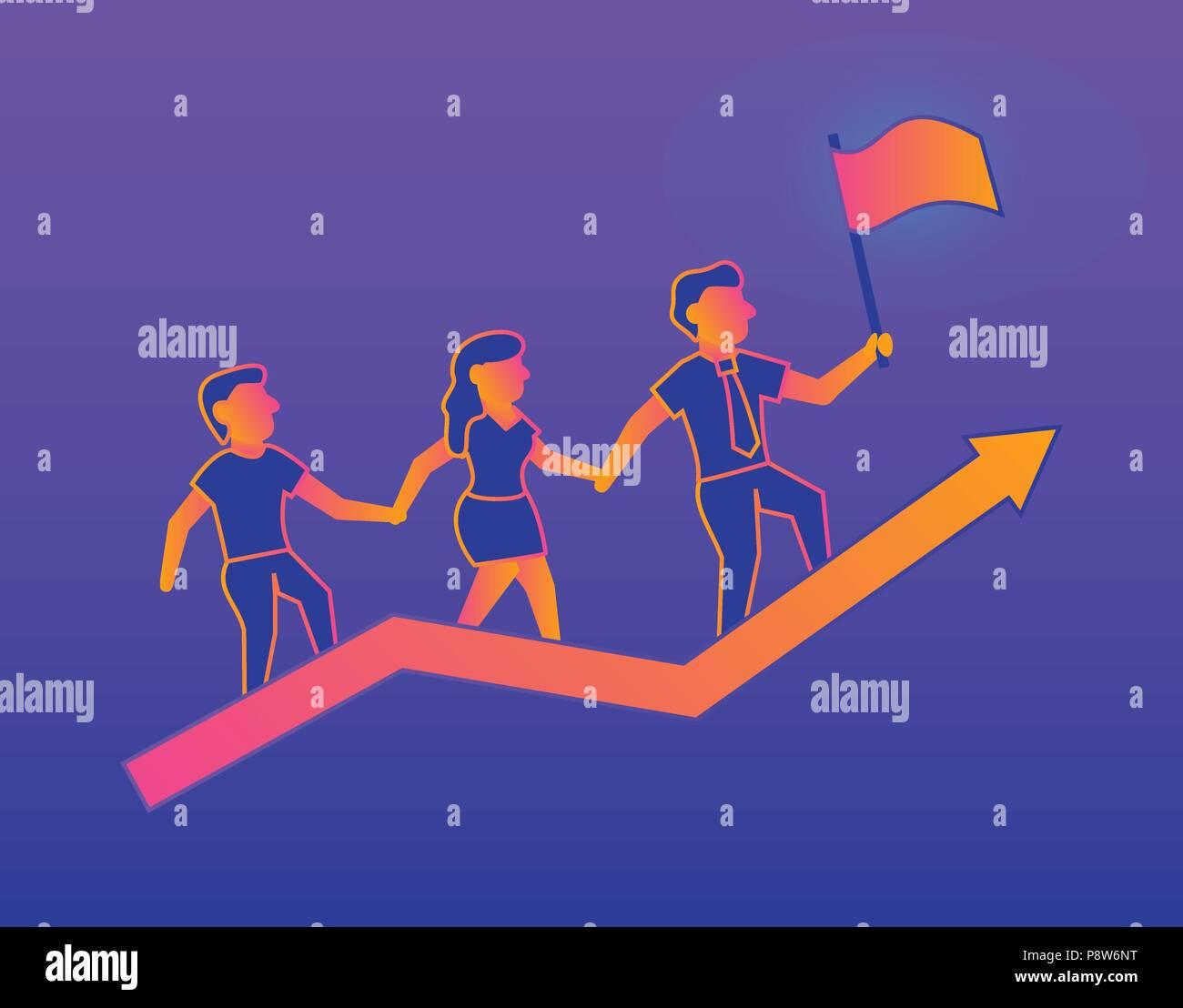 Success Gradient illustration on violet background - Stock Image