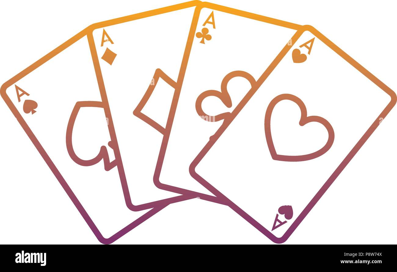 Degraded Line Poker A Cards To Classic Game Vector Illustration Stock Vector Image Art Alamy