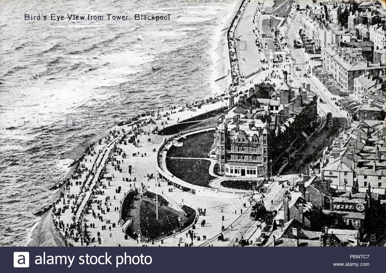 Birds Eye View from the Tower Blackpool with a view of the Grand Metropole Hotel, vintage postcard from 1918 Stock Photo