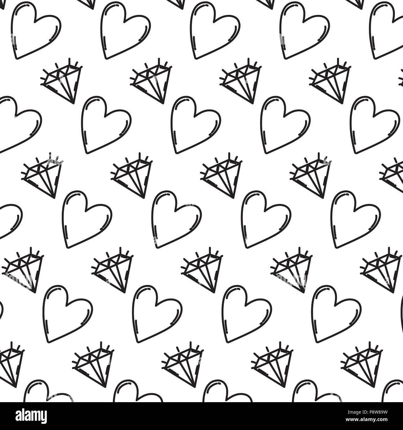 line brillant diamond and heart symbol background vector illustration - Stock Image