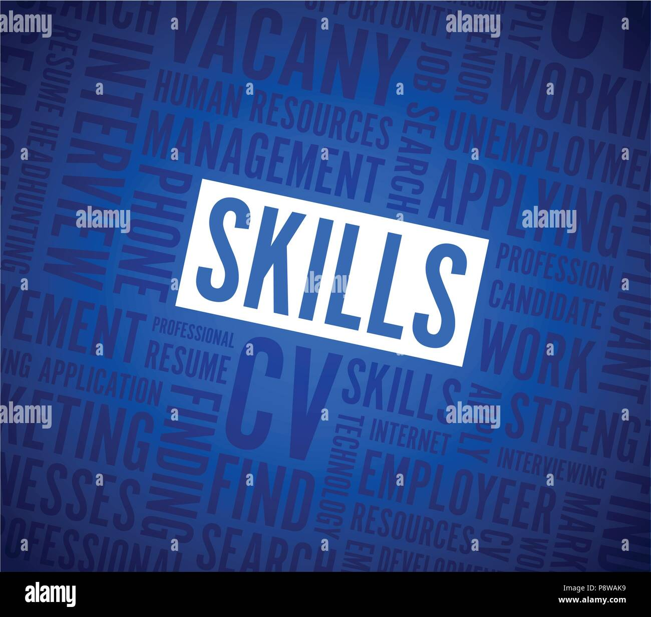 blue skills background text - Stock Image