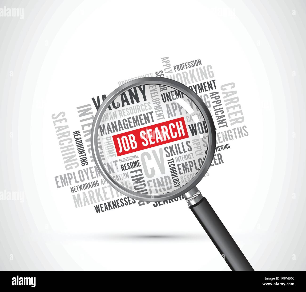 job search background text magnifying glass - Stock Image