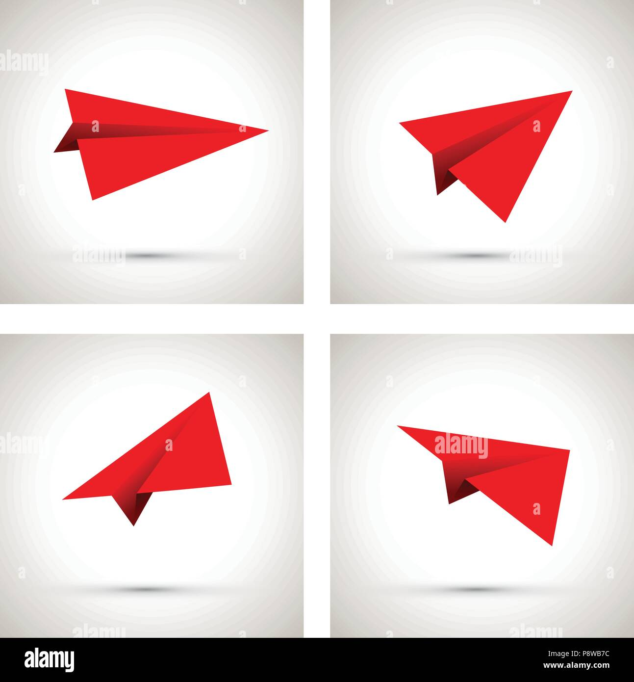 red paper airplanes - Stock Vector