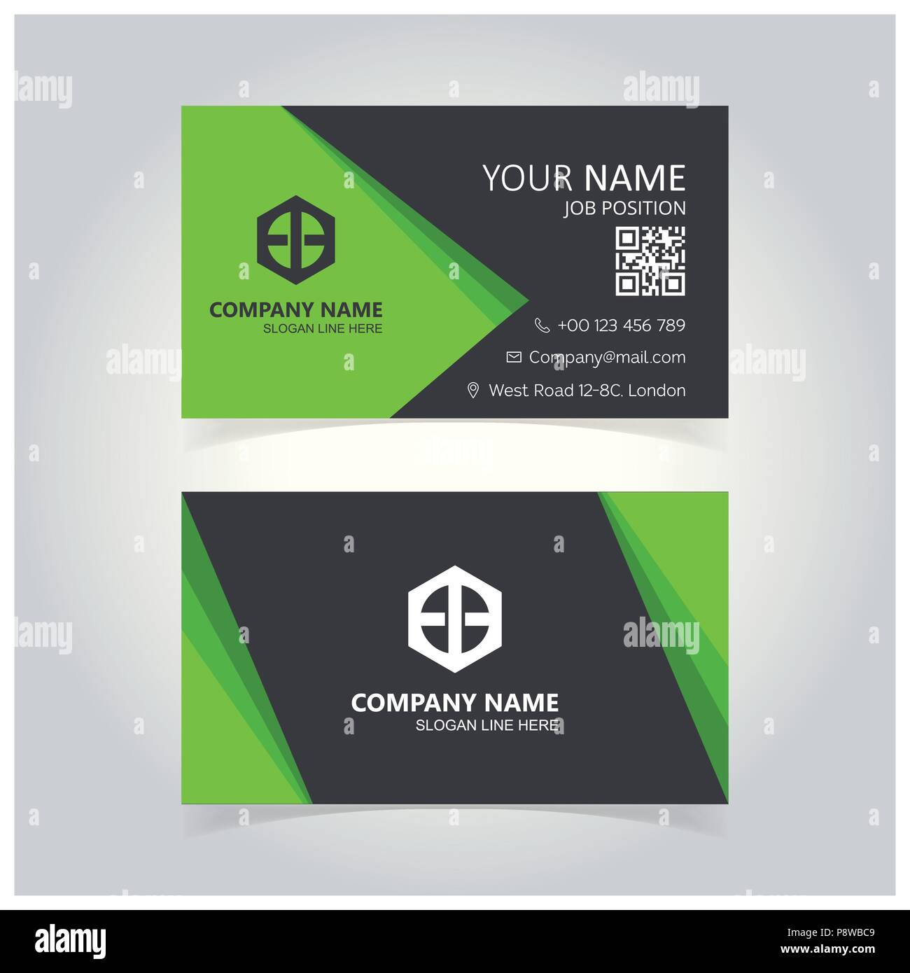 Green And Gray Creative Business Card Template For Web