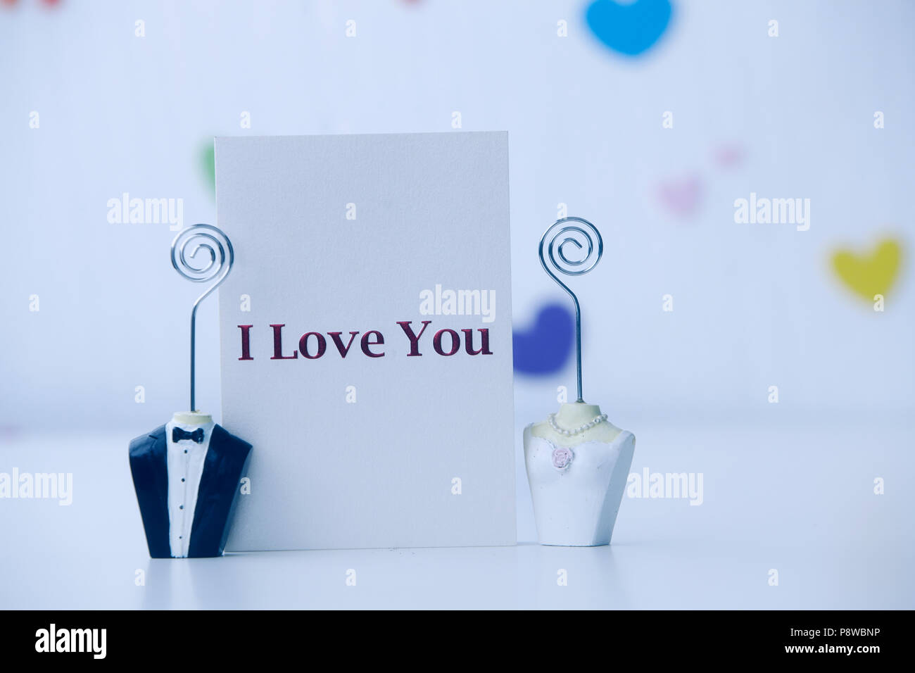 bride and groom figure card holder with i love you love letter