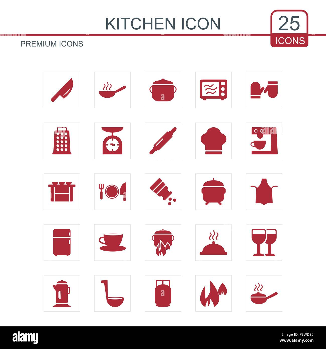 Kitchen icons set red. For web design and application interface ...