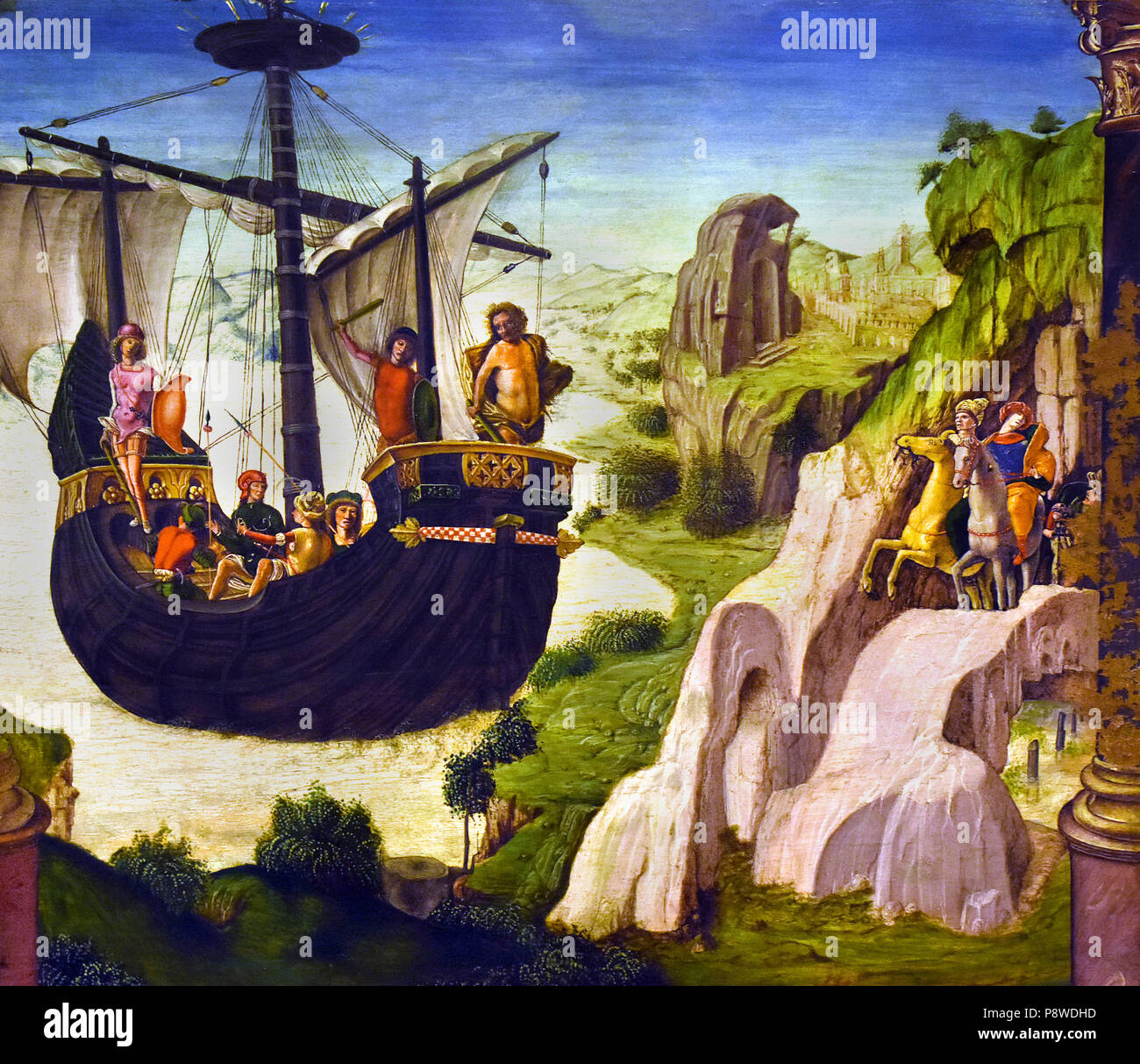The expedition of the Argonauts by Lorenzo Costa il Vecchio - Lorenzo Costa the Elder 1460 - 1535 Italy Italian ( The Argonauts were a band of heroes in Greek mythology, who in the years before the Trojan War, 1300BC, accompanied Jason to Colchis in his quest to find the Golden Fleece. ) Stock Photo