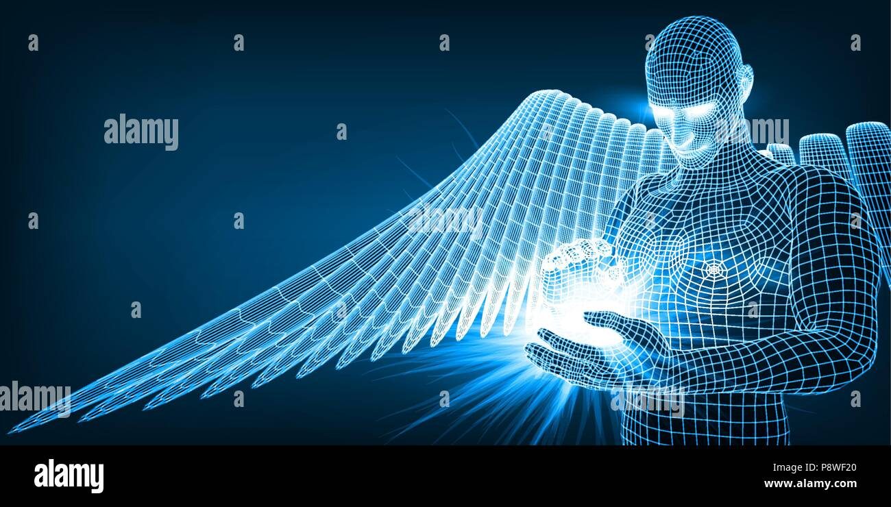 the angel of artificial intelligence keeping in hands future of humanity - Stock Image