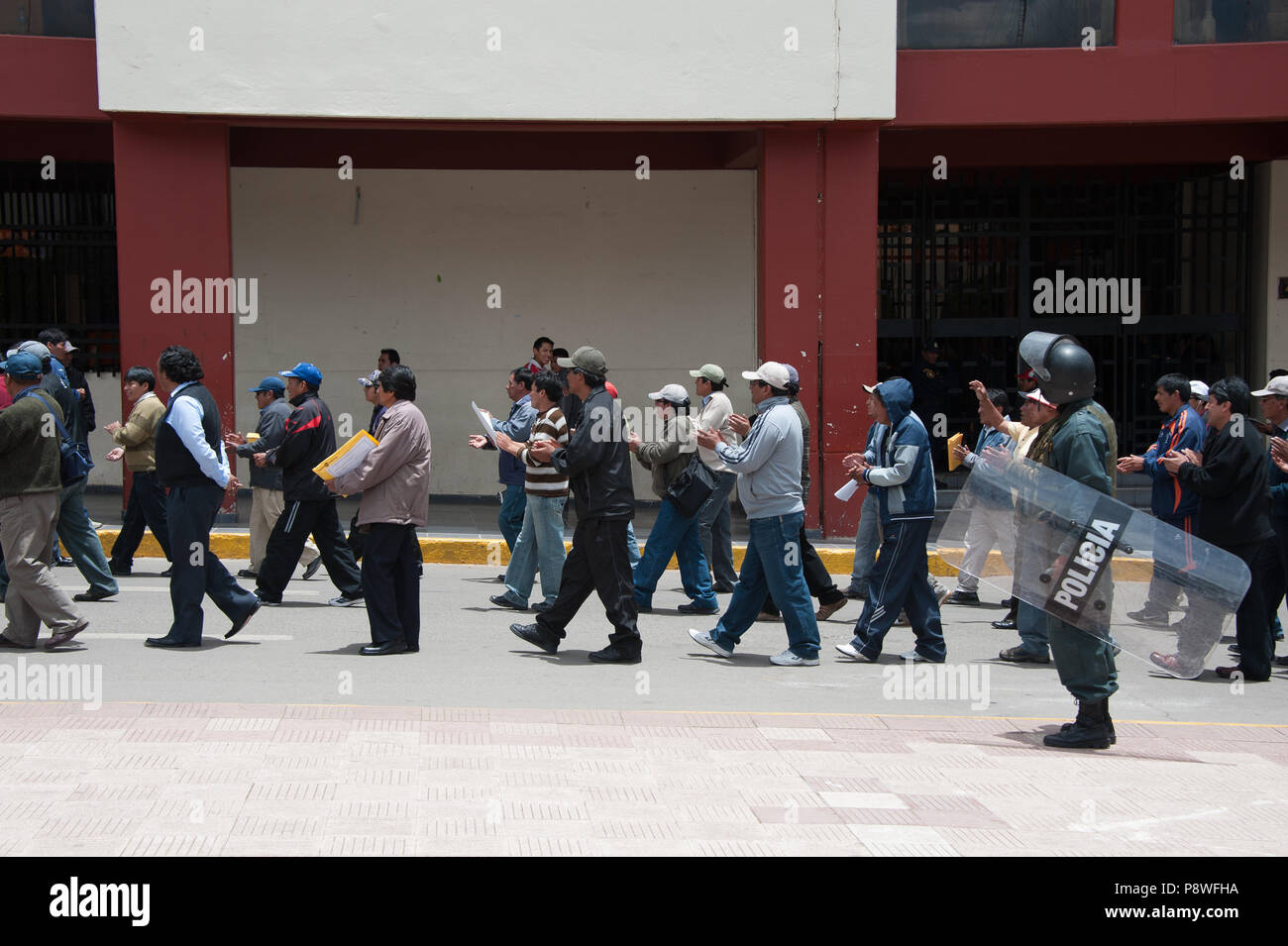 A local political demonstration is quite common in the streets of Puno at Lake Titicaca Peru South America - Stock Image