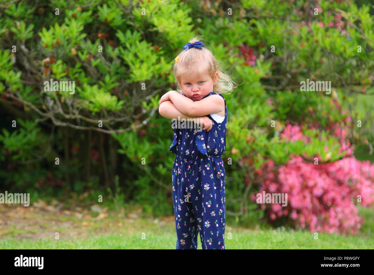 Young girl throwing a tantrum - Stock Image