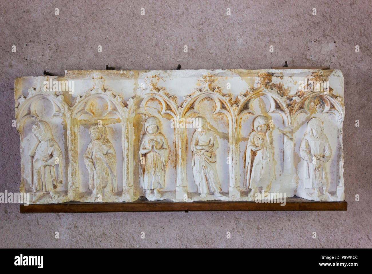 The medieval Cité of Carcassonne, French department of Aude, Occitanie Region, France. Inside the Chateau Comtal. Fragment of the exterior cornice - Stock Image