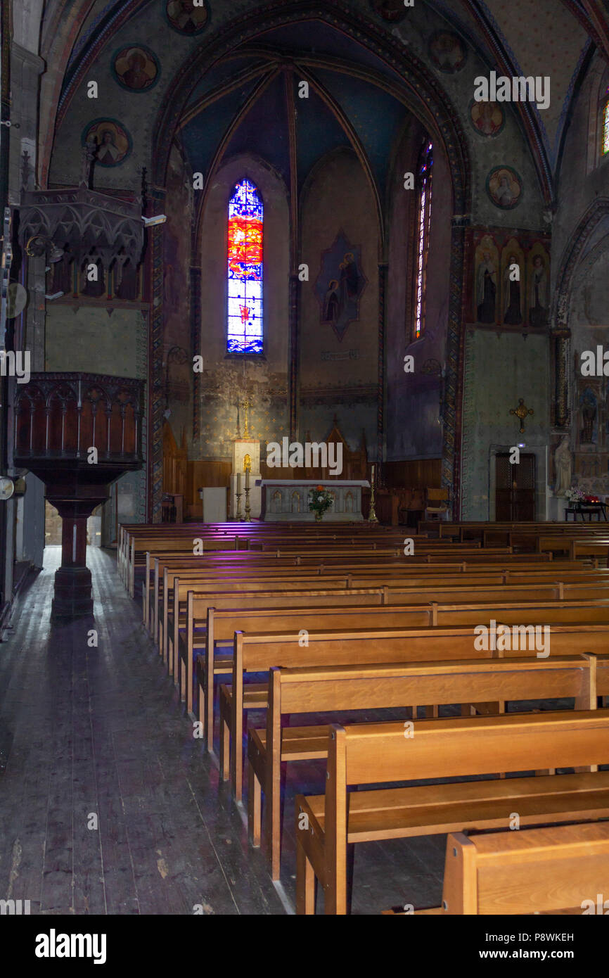 Carcassonne, French department of Aude, Occitanie Region, France.  Interior of the Carmelite church. - Stock Image