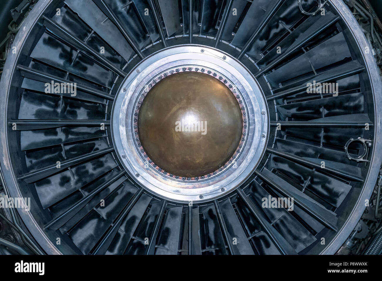 Inside of a powerful aircraft jet engine - Stock Image