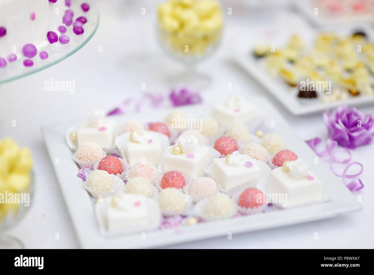 Beautiful Desserts Sweets And Candy Table At Wedding Reception Ot