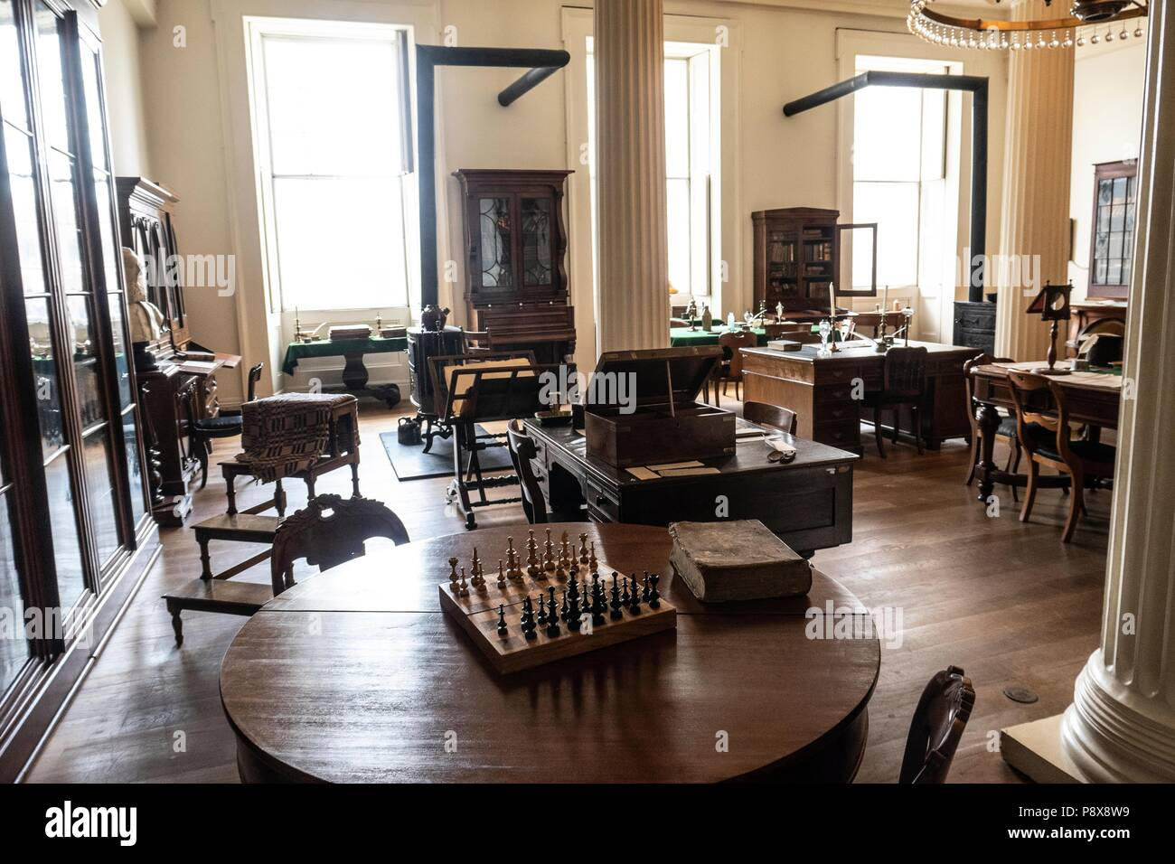 The restored interior of the old Illinois state capital building in Springfield Illinois - Stock Image