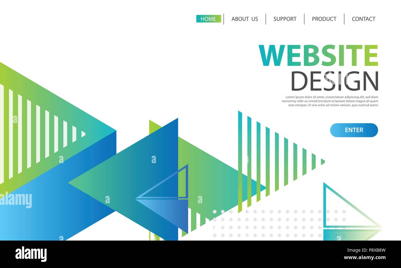 website template design and landing page geometric shapes background
