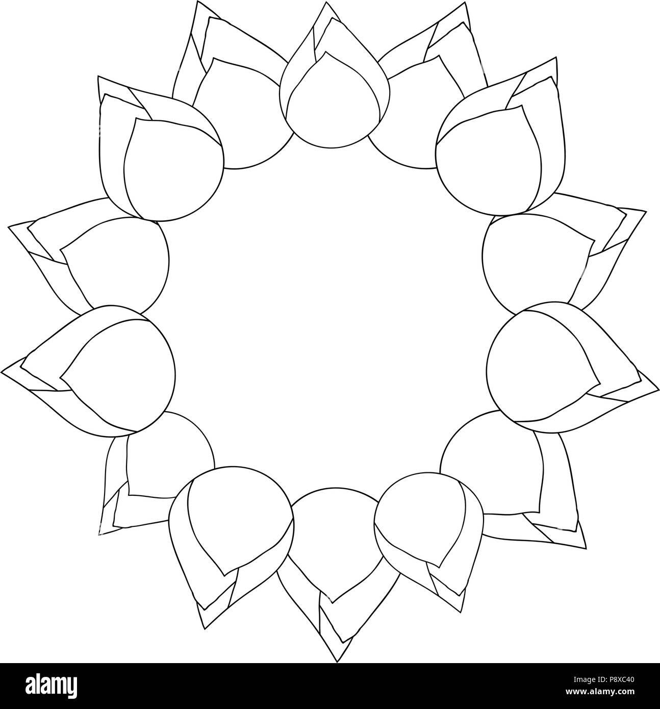 Bud Indian Lotus Outline Wreath Nelumbo Nuciferasacred Lotus