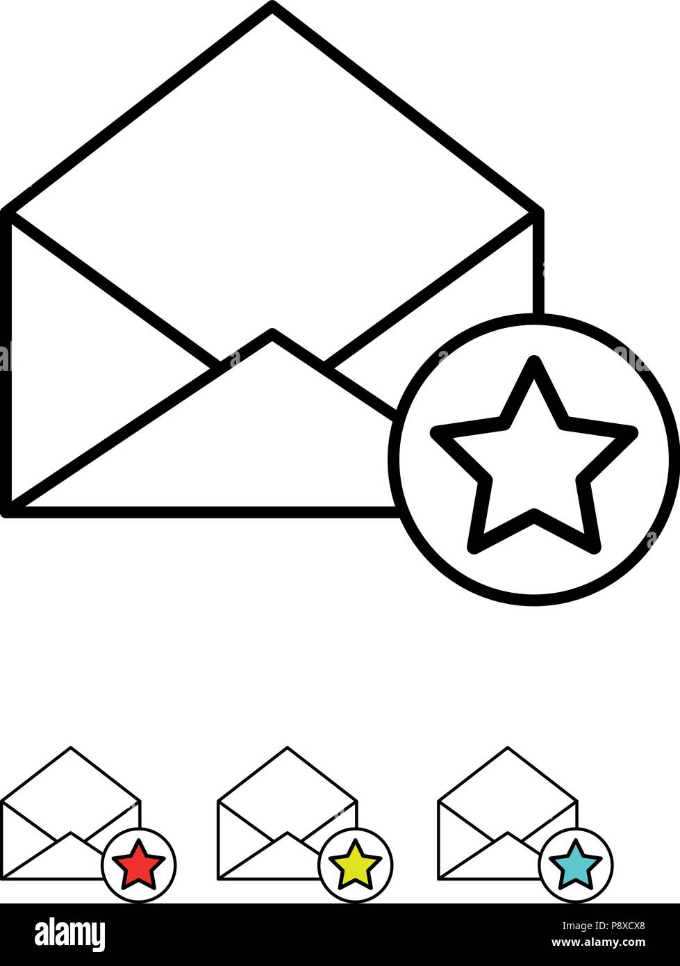 Icon set - Mail with star sign - Vector - Stock Image