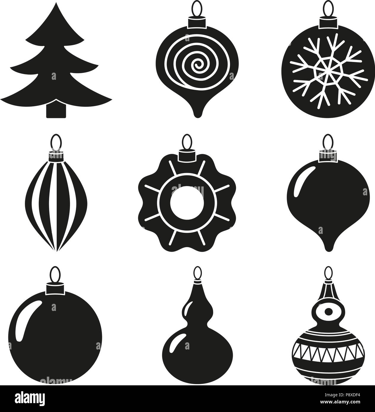 Black And White Xmas Tree Decoration Silhouette Set Holiday Themed Vector Illustration For Icon Sticker Patch Label Sign Badge Certificate Or G Stock Vector Image Art Alamy