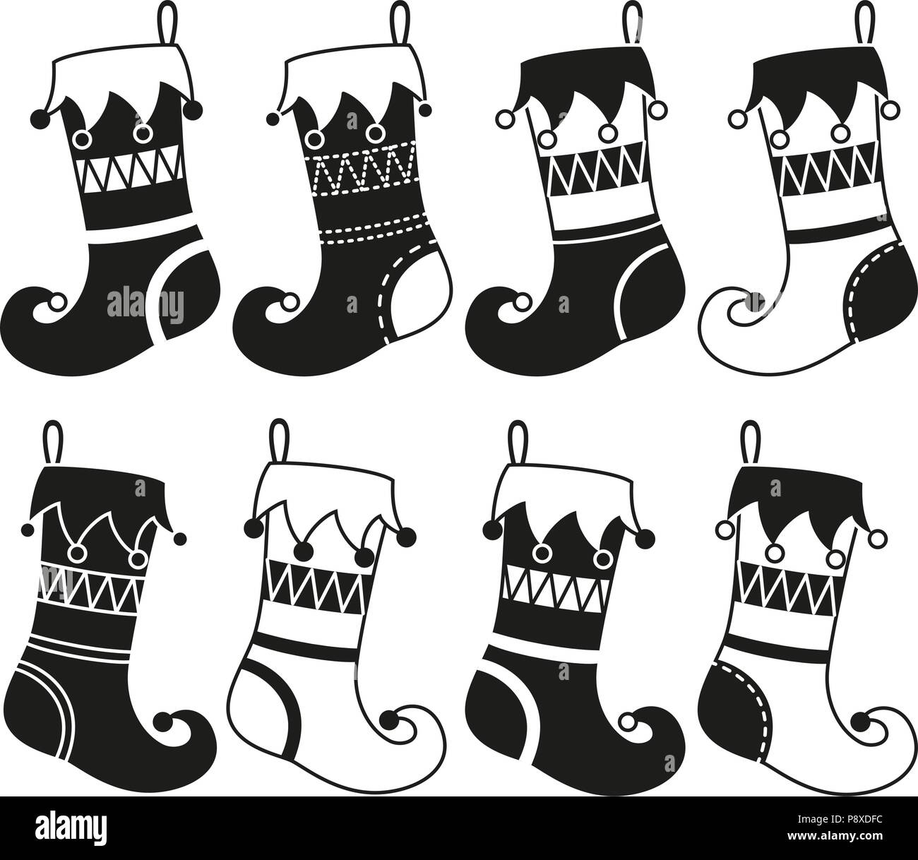 Black And White 8 Christmas Stocking Silhouette Set Holiday Themed