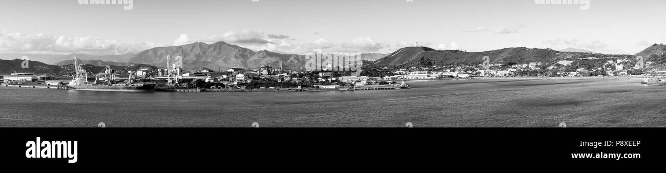 Noumea, capital of New Caledonia panoramic view from the bay in black and white Stock Photo