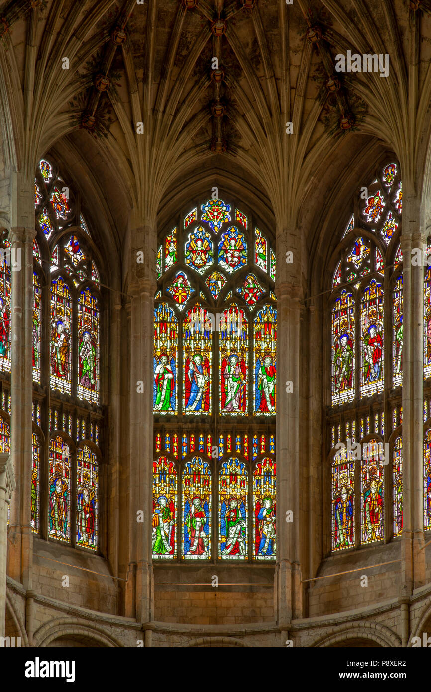 Stained glass windows in Norwich cathedral, Norfolk, England Stock Photo