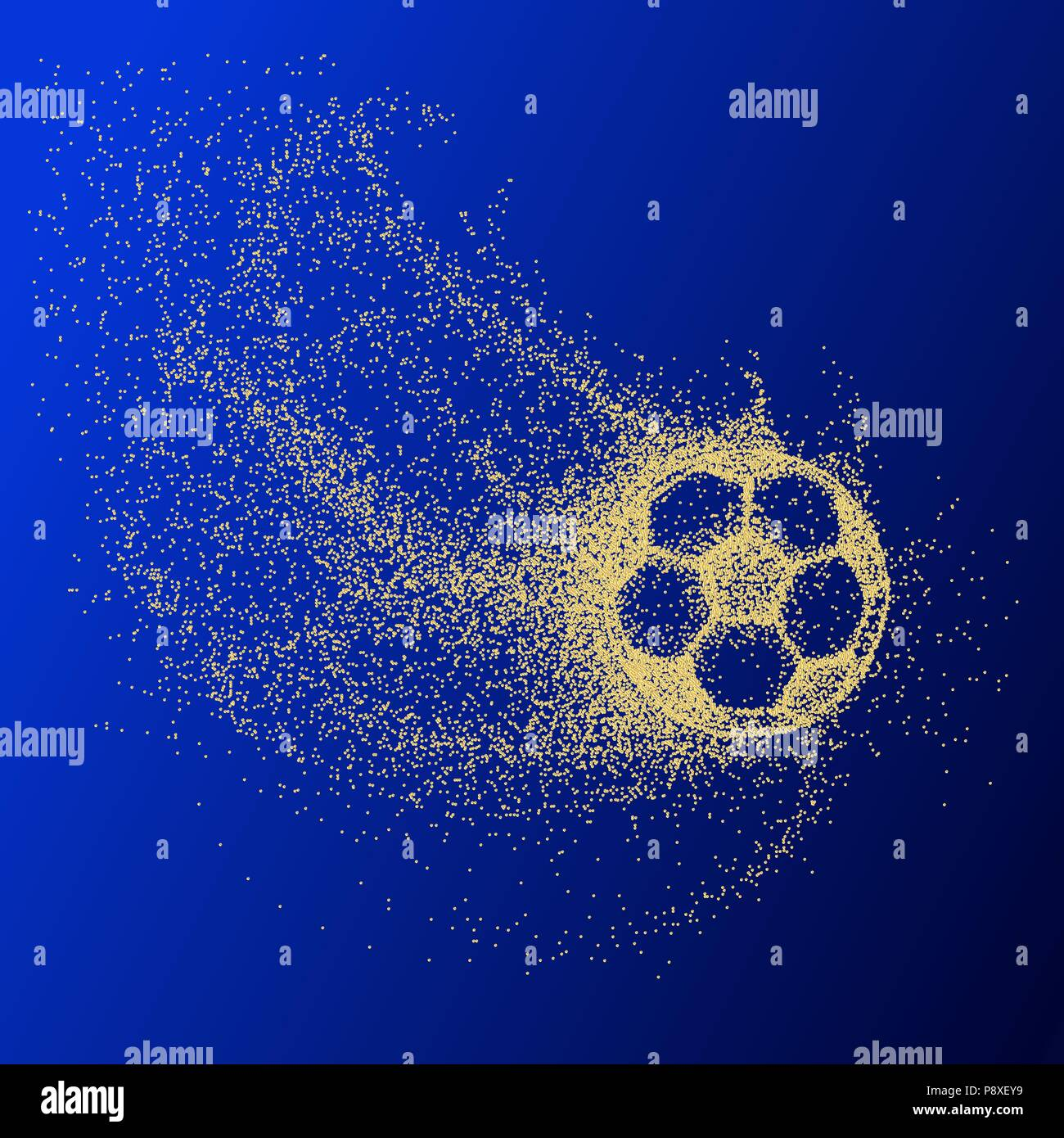 silhouette of a soccer ball from particles. Soccer ball. gold - Stock Vector