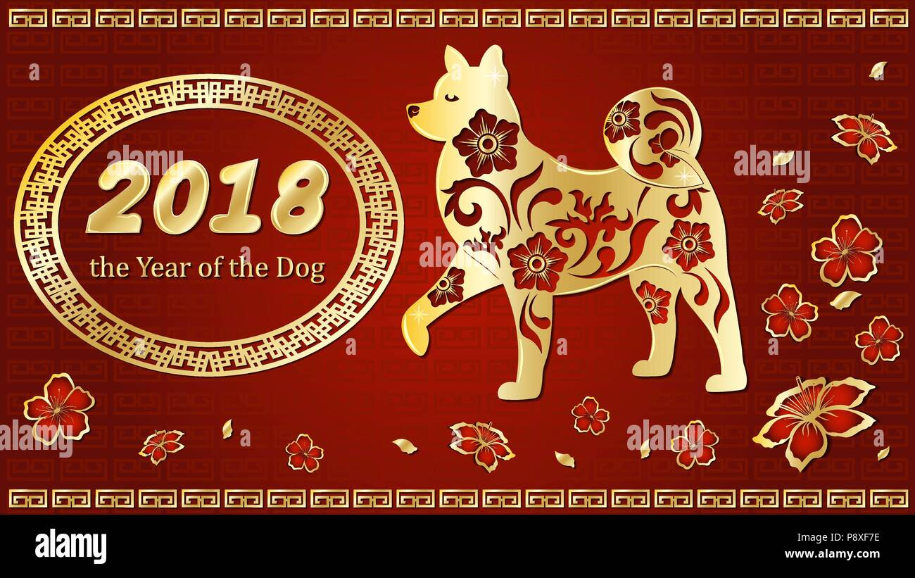 dog is a symbol of the 2018 chinese new year paper cut art design for greeting cards calendars banners posters invitations
